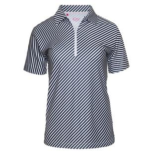 Women's Diagonal Stripe Short Sleeve Polo