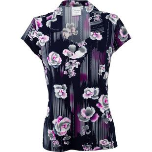 Women's Open Neck Floral Print Short Sleeve Polo