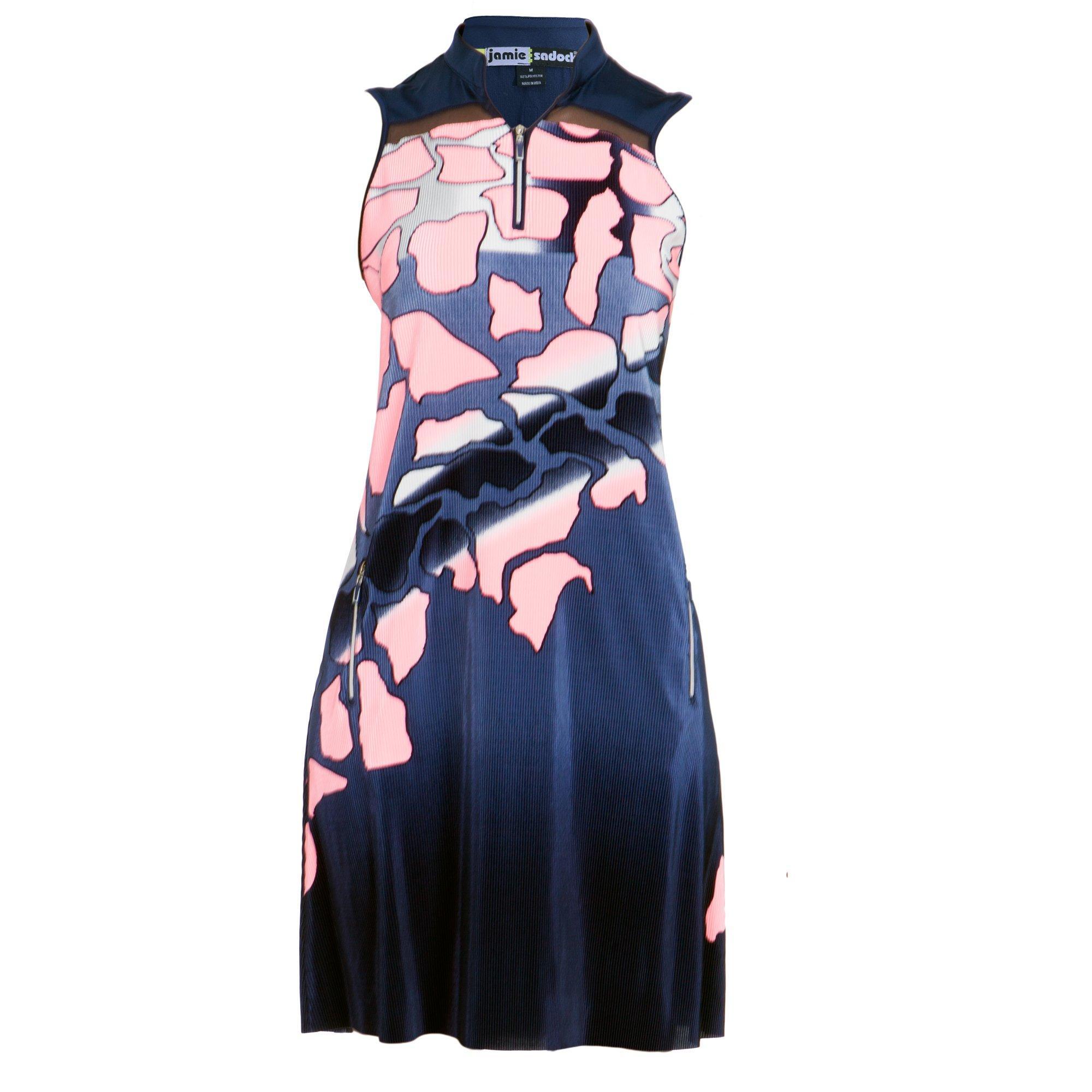 Women's Spring Camo Crunch Mock Neck Sleevless Dress