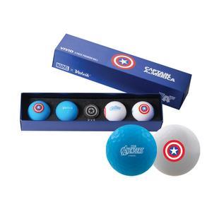 Marvel Vivid 4 Pack Gift Set Golf Balls - Captain America Edition