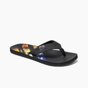 Men's HT Sunset Print Stripe Flip-Flop Sandal - Black/Multi