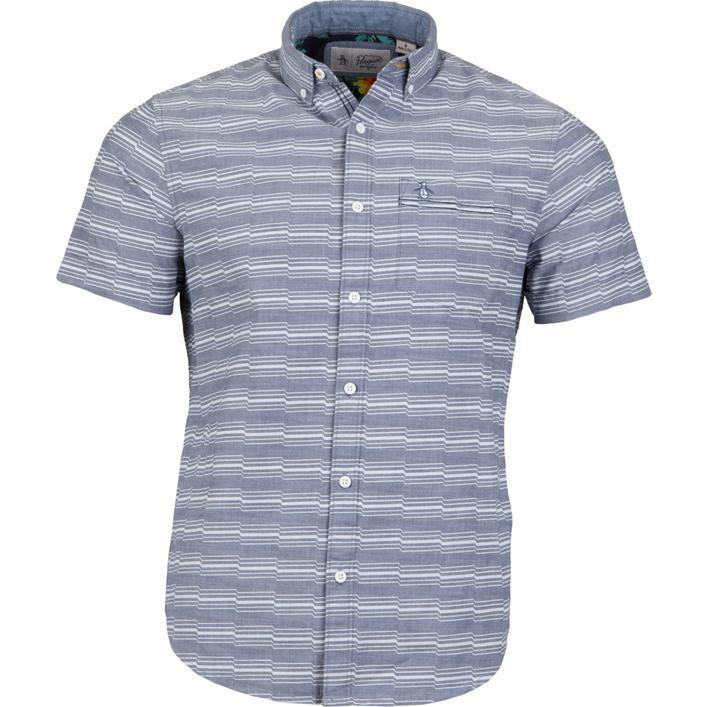 Men's Zig Zag Print Short Sleeve Button-Down Shirt