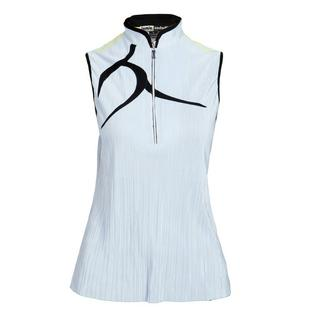 Women's Front Detail Zip Mock Neck Sleeveless Top