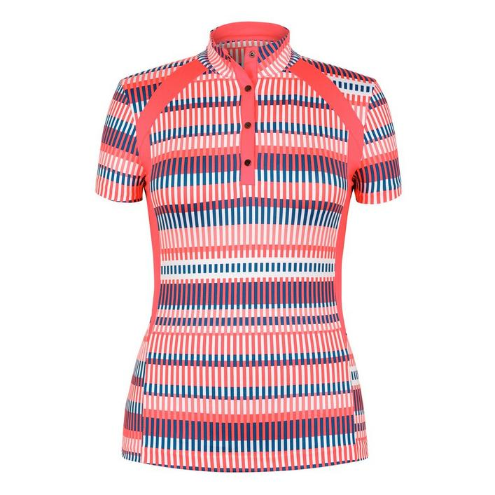Women's Cecilia Printed Button Up Mock Short Sleeve Top