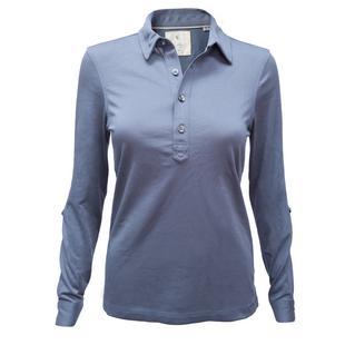 Polo en coton et jersey à manches longues pour femmes