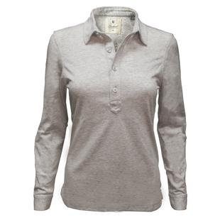 Womens Cotton Jersey Long Sleeve Polo
