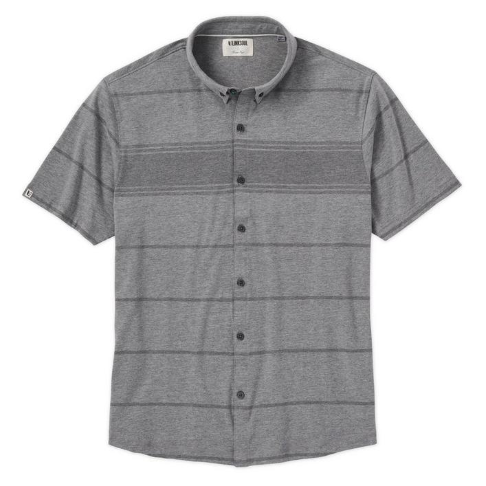 Men's Tonal Stripe Button Up Short Sleeve Shirt