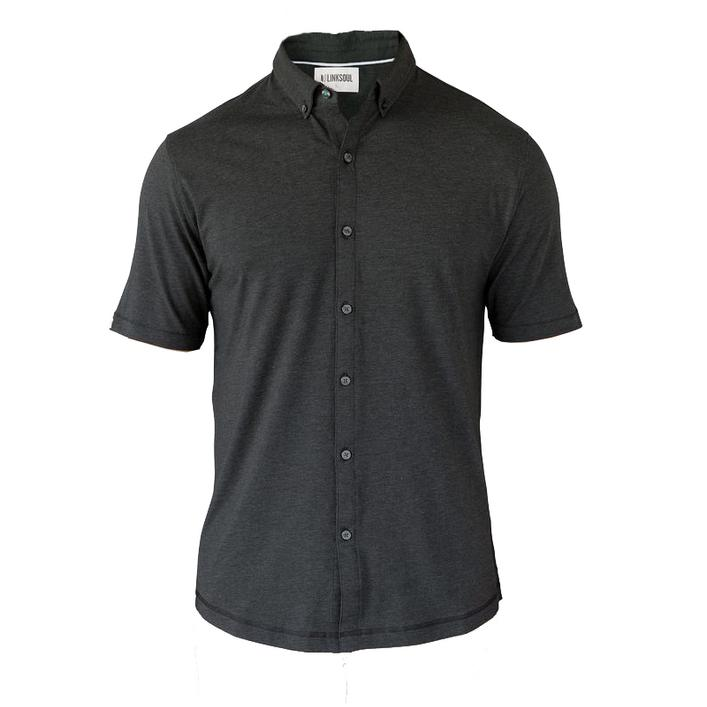 Men's Anza Heather Button Up Short Sleeve Shirt