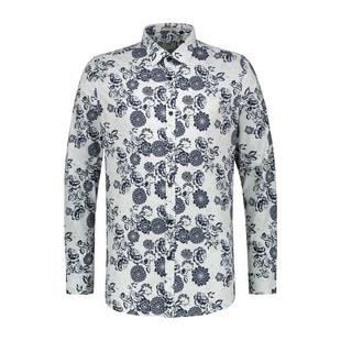 Men's Shadow Flower Fine Stretch Button Up Long Sleeve Shirt