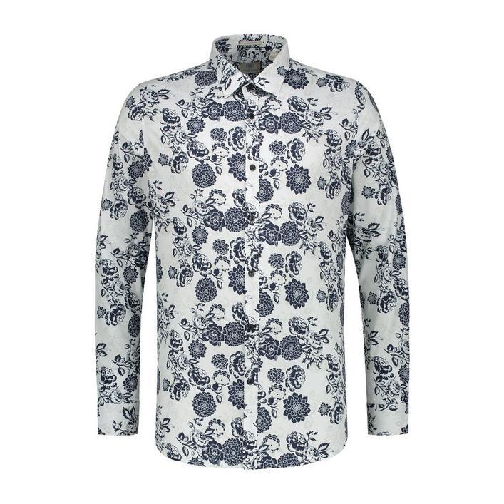 Chemise Shadow Flower Fine extensible avec boutons à manches longues pour hommes