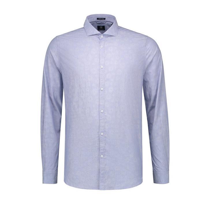 Men's Flower Jacquard Button Up Long Sleeve Shirt