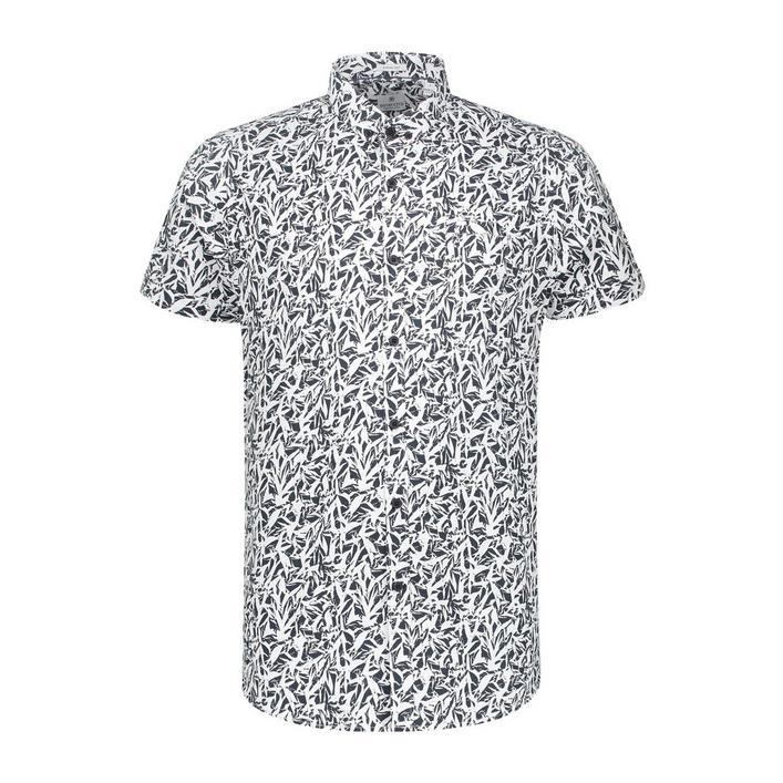 Chemise Wild Leaves extensible en popeline avec boutons à manches courtes pour hommes