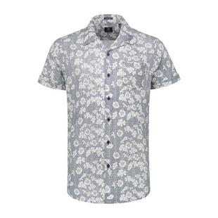 Men's Structure Motif Stretch Poplin Button Up Short Sleeve Shirt