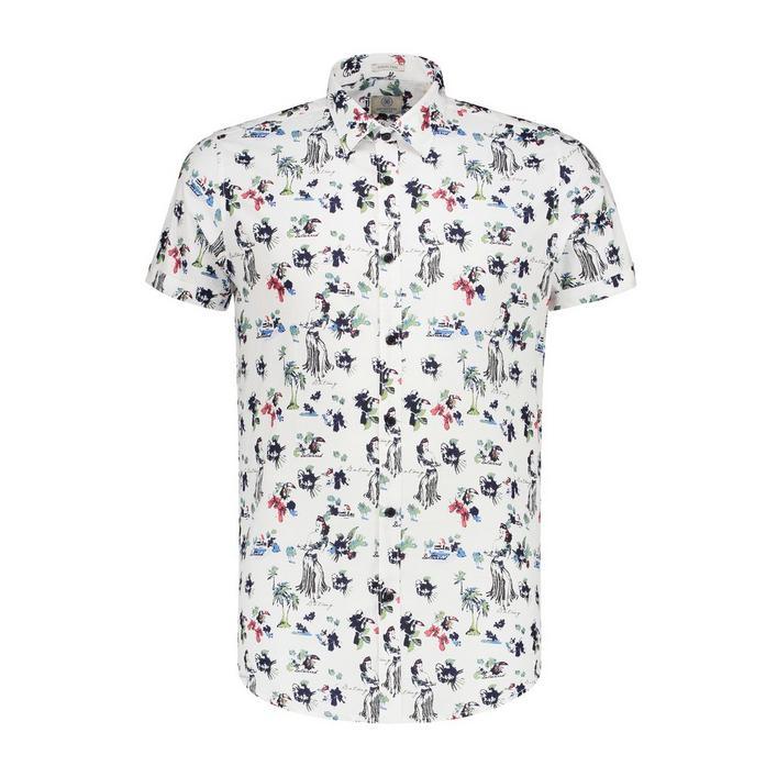 Chemise Hawaii Fine extensible en popeline avec boutons à manches courtes pour hommes