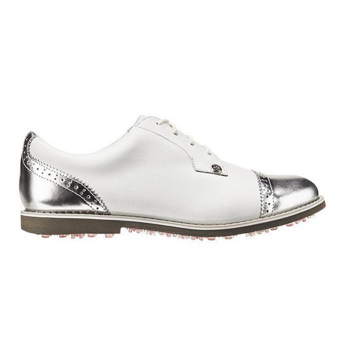 Women's Cap Toe Gallivanter Spikeless Golf Shoe - White/Silver