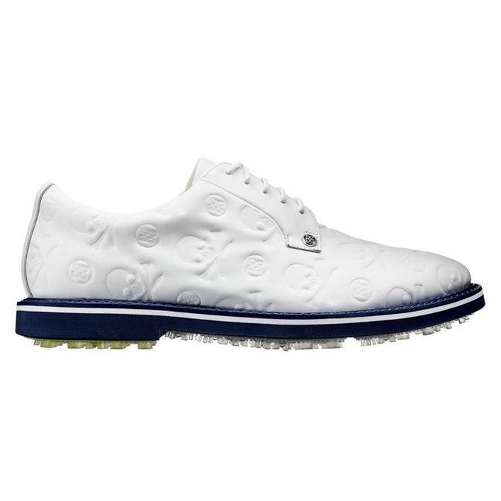 Men's Embossed Skull Gallivanter Spikeless Golf Shoe - White/Blue