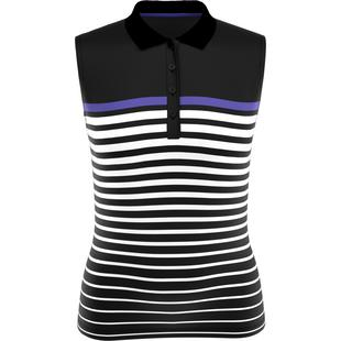 Women's Engineered Variegated Stripe Sleeveless Polo