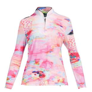 Women's Sunsense Watercolour Printed Quarter Zip Long Sleeve Top