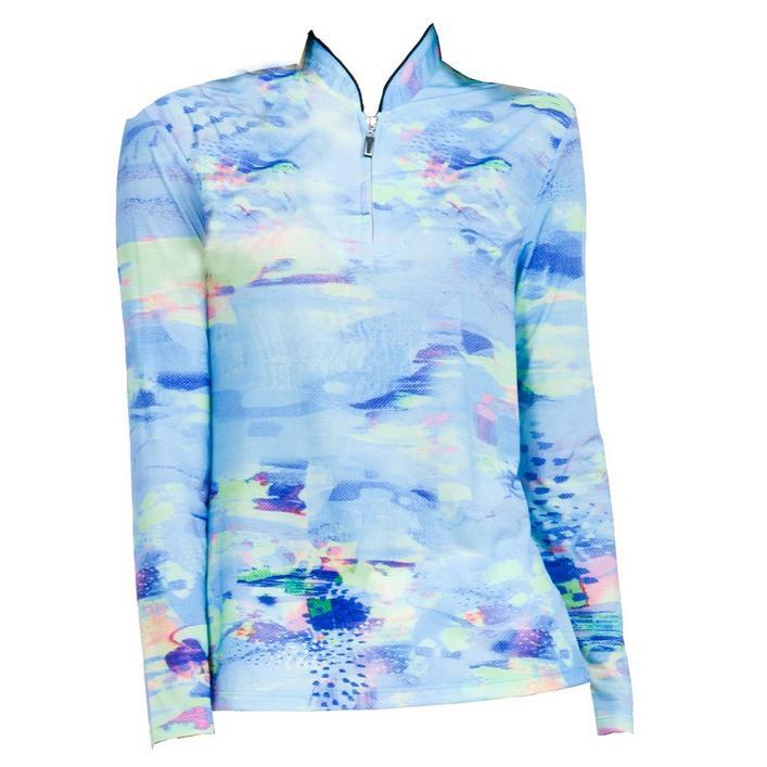 Women's Sunsense Watercolour Printed Quarter Zip Long Sleeve Top
