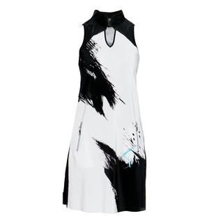 Women's Canvas Printed Crunch Sleeveless Dress