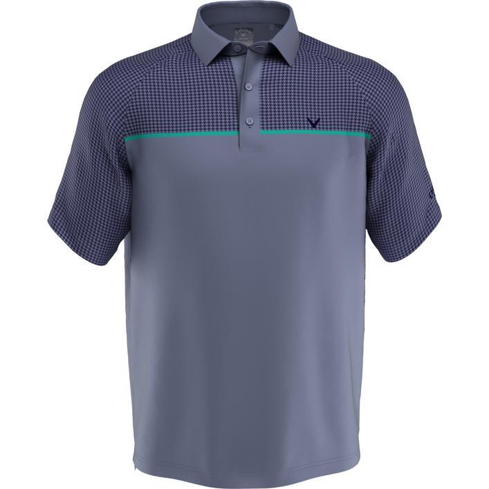 Polo à imprimé pied-de-poule sur la poitrine à manches courtes pour hommes