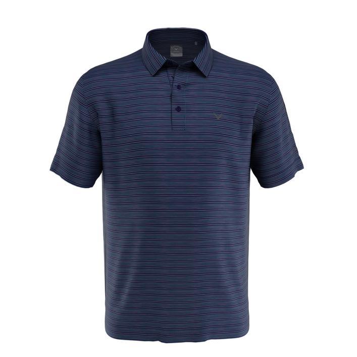 Polo en tissu jaspé rayé pour hommes