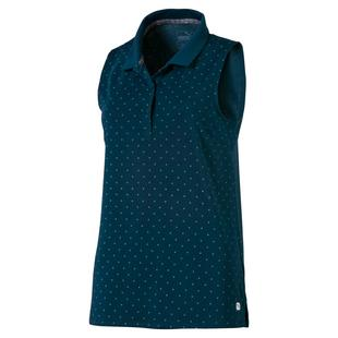 Women's W Polka Dot Sleeveless Polo