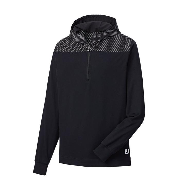Men's Printed Woven Yoke & Hood 1/4 Zip Pullover