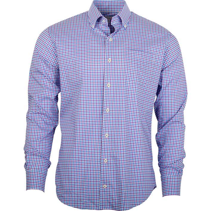 Chemise tissée à carreaux à manches longues pour hommes
