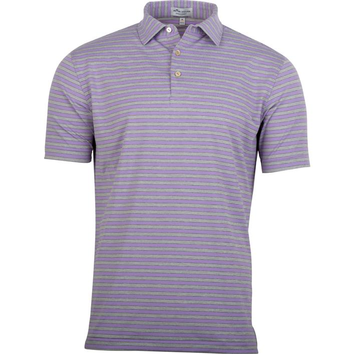 Polo extensible en jersey rayé à manches courtes pour hommes