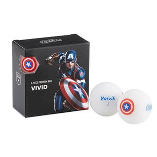 Vivid 4 Pack Golf Balls - Marvel Captain America