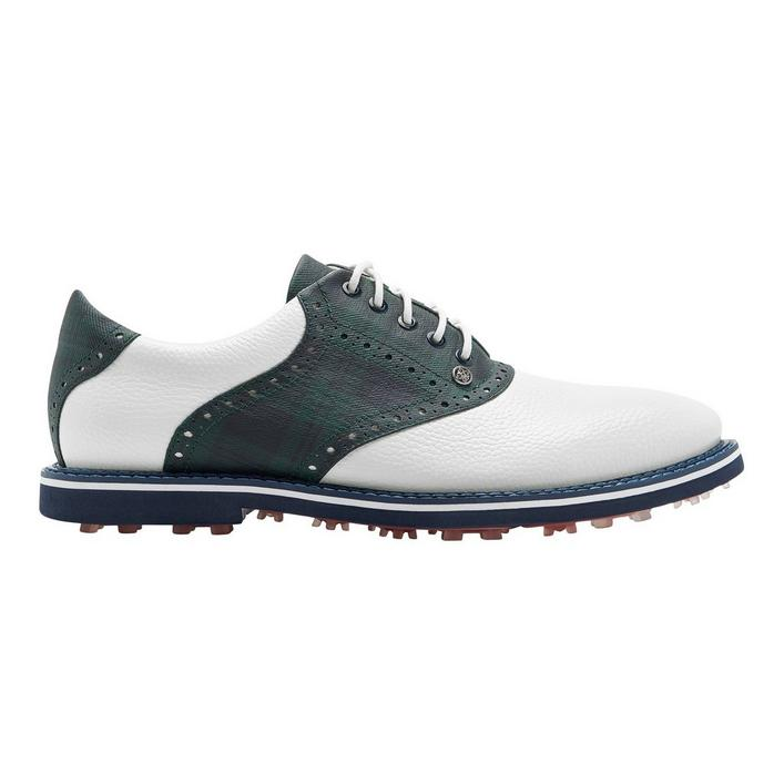 Men's Plaid Saddle Gallivanter Spikeless Golf Shoe - White/Navy/Green