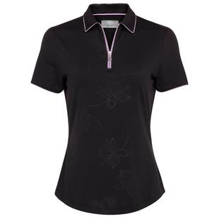 Women's Embossed Floral Printed With Piping Short Sleeve Polo