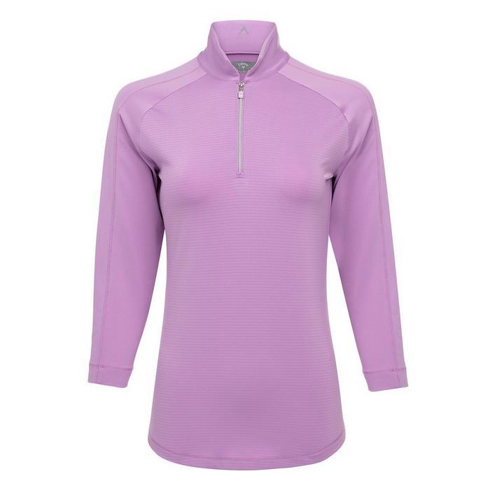 Polo à rayures ombragées à manches 3/4 pour femmes