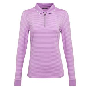 Women's Striped Long Sleeve Polo