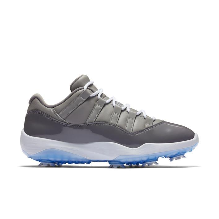 Men's Air Jordan 11 Spiked Golf Shoe - Grey/White