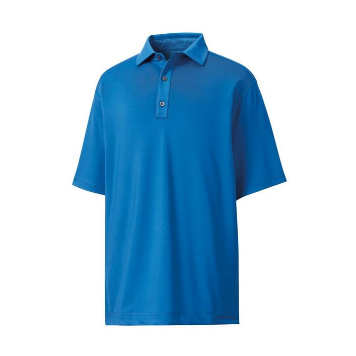Men's Lisle Solid with Jacquard Yoke Short Sleeve Polo