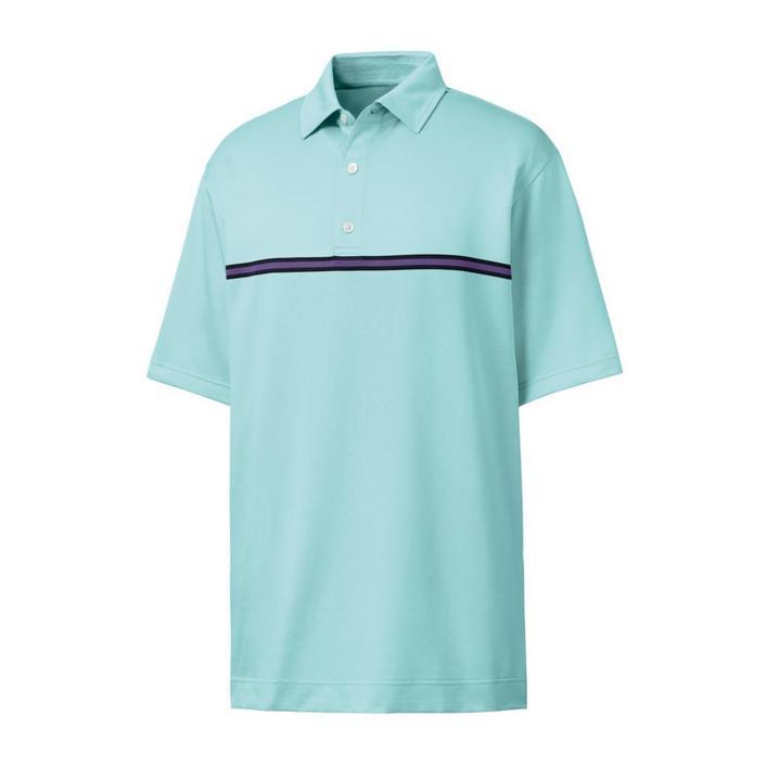 Men's Jacquard Center Stripe Short Sleeve Polo