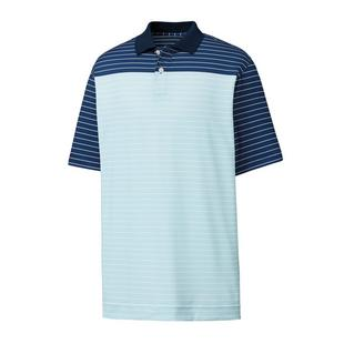 Men's Lisle Colourblock Mini Stripe Short Sleeve Polo