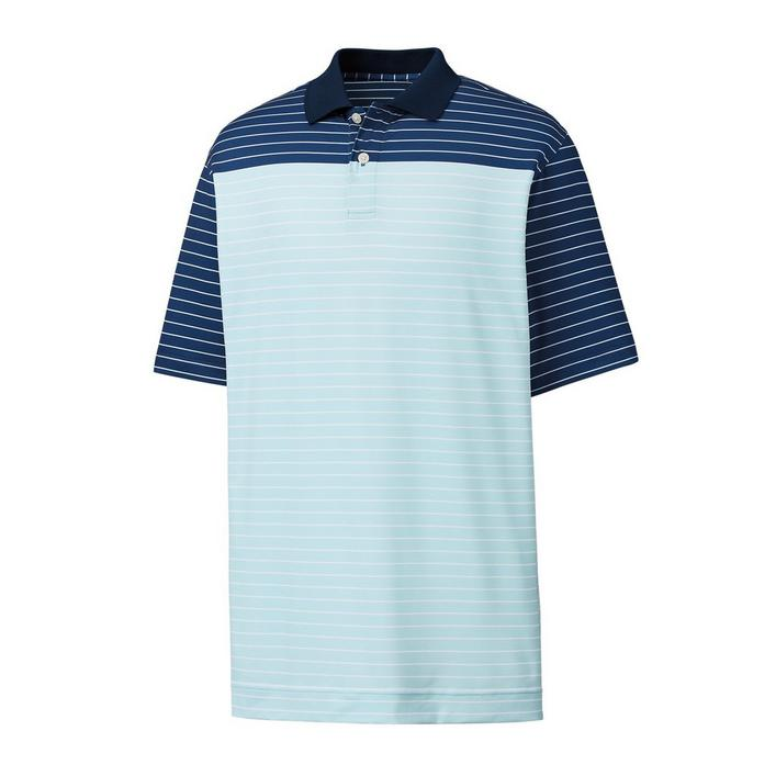 Men's Lisle Colourblock Mini Stripe Short Sleeve Polo