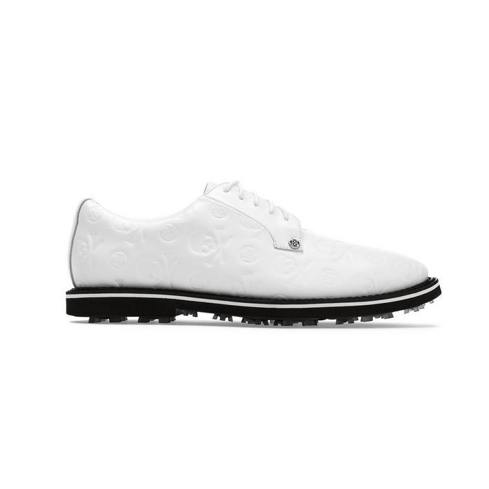 Men's Skull Embossed Gallivanter Spikeless Golf Shoe - White/Black
