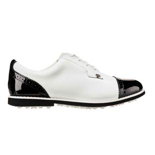 Women's Cap Toe Gallivanter Spikeless Golf Shoe - White/Black