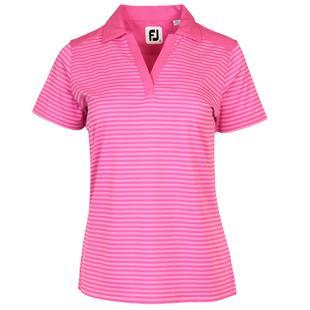 Women's Tonal Stripe Lisle V-Neck Short Sleeve Polo