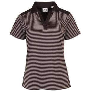 Women's Tonal Stripe Lisle V-Neck Short Sleeve Polo