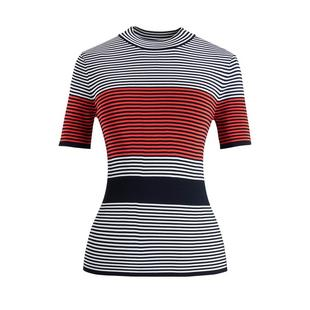 Women's Colourblock Stripe Mock Short Sleeve Top