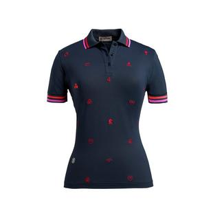 Women's Embroidered Printed Short Sleeve Polo