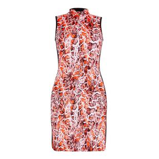 Women's Python Printed Mockneck Sleeveless Dress