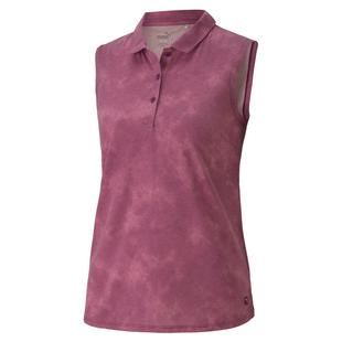 Women's Floral Dye Sleeveless Polo
