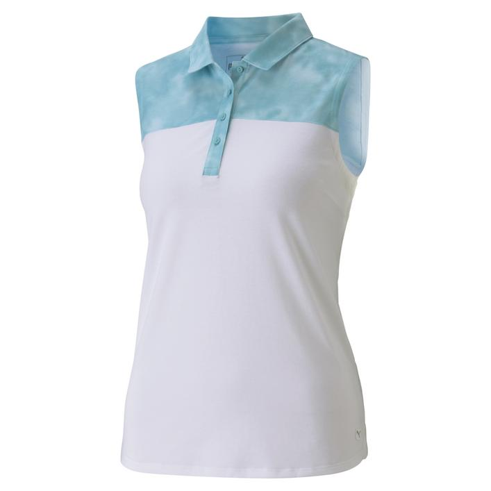 Women's Tie Dye Blocked Sleeveless Polo