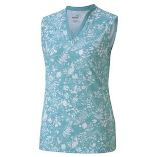 Women's Microfloral Printed Sleeveless Polo
